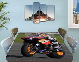 Декоративная наклейка на стол Мотокросс гонки байки виниловая пленка самоклейка, транспорт, черный 60 х 100 см, фото 3