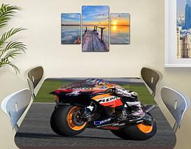 Декоративная наклейка на стол Мотокросс гонки байки виниловая пленка самоклейка, транспорт, черный 60 х 100 см, фото 2