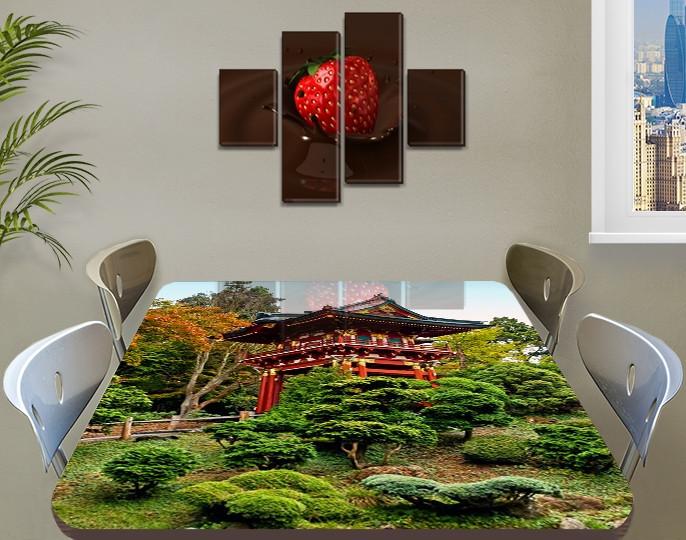 Виниловая наклейка на стол Японский сад и Храм самоклеющаяся декоративная пленка, Восток, зеленый 60 х 100 см
