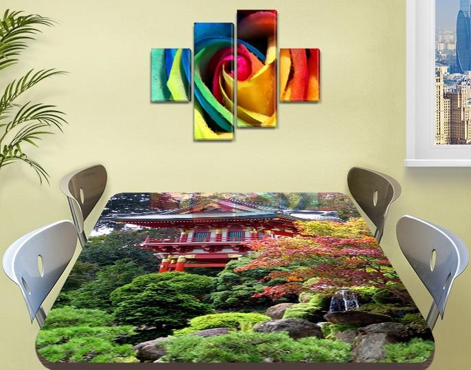 Виниловая наклейка на стол Пышная Япония самоклеющаяся декоративная пленка, Восток Азия, зеленый 60 х 100 см