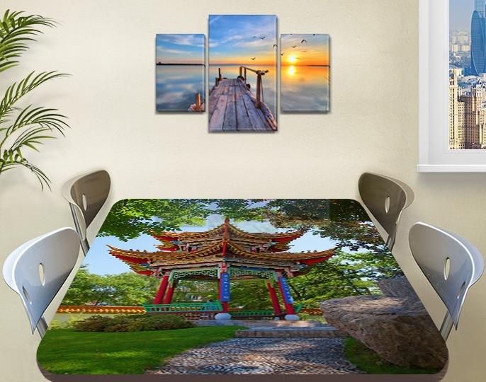 Виниловая наклейка на стол Восточный храм Япония самоклеющаяся декоративная пленка, Азия, зеленый 60 х 100 см
