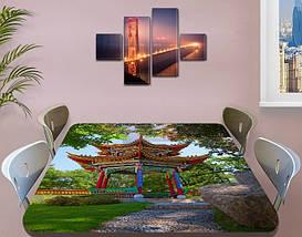 Виниловая наклейка на стол Восточный храм Япония самоклеющаяся декоративная пленка, Азия, зеленый 60 х 100 см, фото 3