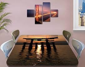 Виниловая наклейка на стол Восточные блики самоклеющаяся декоративная пленка абстракция коричневый 60 х 100 см, фото 3