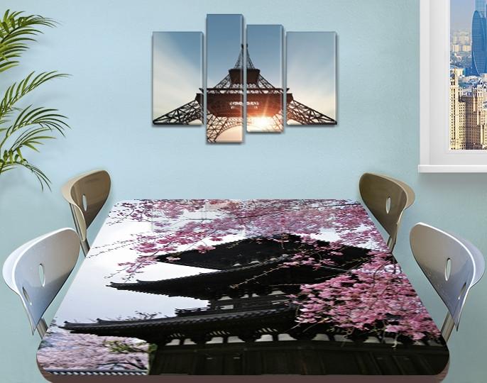 Виниловая наклейка на стол Китай и Сакура самоклеющаяся декоративная пленка архитектура коричневый 60 х 100 см