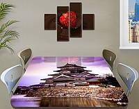 Виниловая наклейка на стол Рассвет в Японии самоклейка декоративная пленка архитектура, коричневый 60 х 100 см