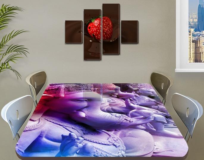Виниловая наклейка на стол Ганеша Индия самоклеющаяся декоративная пленка, абстракция, фиолетовый 60 х 100 см