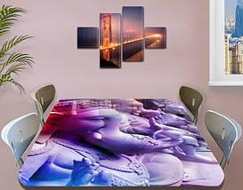 Виниловая наклейка на стол Ганеша Индия самоклеющаяся декоративная пленка, абстракция, фиолетовый 60 х 100 см, фото 3