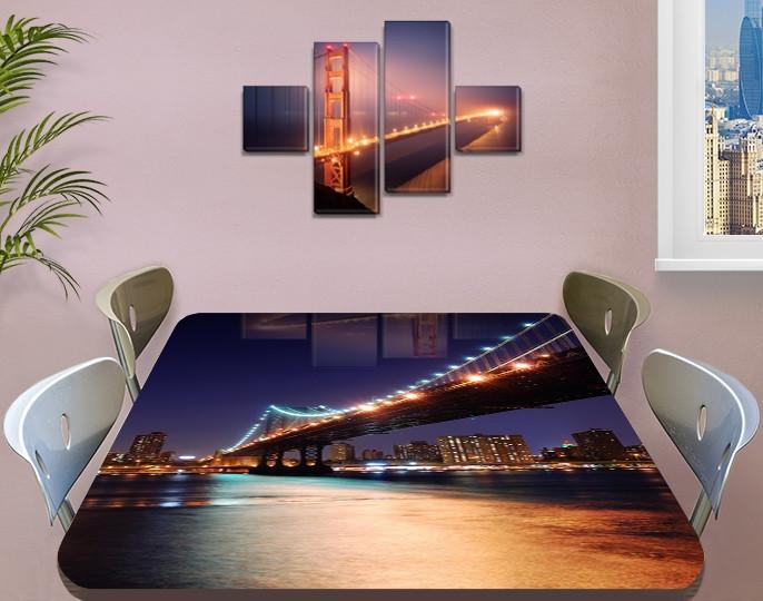 Виниловая наклейка на стол Ночной мост над рекой декоративная пленка самоклеющаяся, синий 60 х 100 см