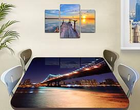 Виниловая наклейка на стол Ночной мост над рекой декоративная пленка самоклеющаяся, синий 60 х 100 см, фото 3