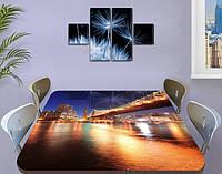 Виниловая наклейка на стол Мост в огнях Отражение декоративная пленка самоклеющаяся, бежевый 60 х 100 см