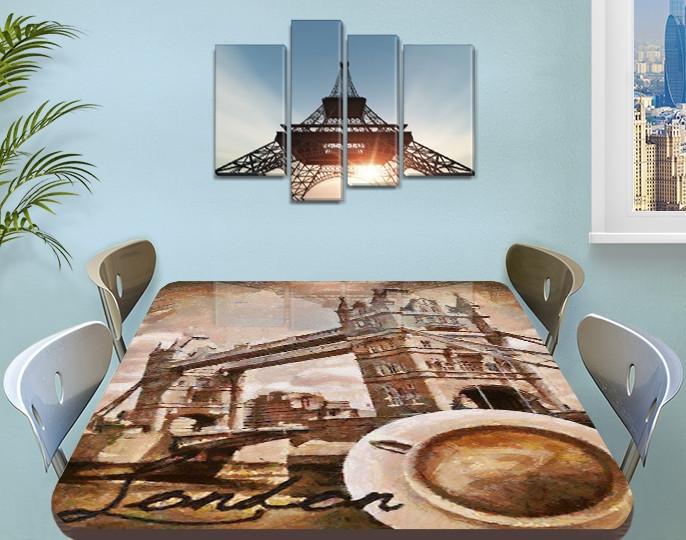 Виниловая наклейка на стол Тауэрский мост Лондон декоративная пленка самоклеющаяся, бежевый 60 х 100 см