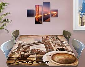 Виниловая наклейка на стол Тауэрский мост Лондон декоративная пленка самоклеющаяся, бежевый 60 х 100 см, фото 3