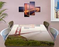 Виниловая наклейка на стол Подвесной Мост в тумане декоративная пленка самоклеющаяся, серый 60 х 100 см