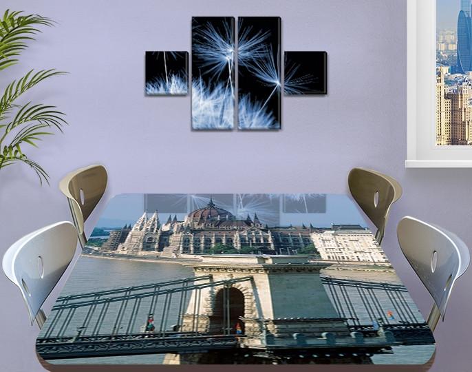 Виниловая наклейка на стол Солнечный Будапешт Архитектура декоративная пленка самоклеющаяся, серый 60 х 100 см