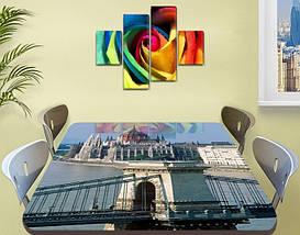 Виниловая наклейка на стол Солнечный Будапешт Архитектура декоративная пленка самоклеющаяся, серый 60 х 100 см, фото 3