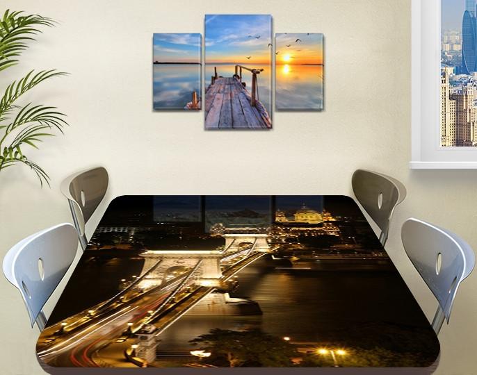 Виниловая наклейка на стол Ночные огни моста декоративная пленка самоклеющаяся, коричневый 60 х 100 см