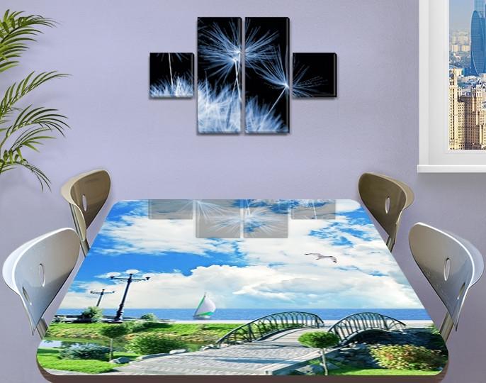 Виниловая наклейка на стол Облака над Гордом декоративная пленка самоклеющаяся, голубой 60 х 100 см