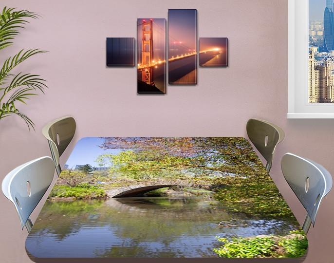 Виниловая наклейка на стол Каменный мост через реку декоративная пленка самоклеющаяся, серый 60 х 100 см