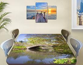 Виниловая наклейка на стол Каменный мост через реку декоративная пленка самоклеющаяся, серый 60 х 100 см, фото 3