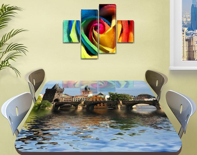 Виниловая наклейка на стол Дворец над водой Архитектура декоративная пленка самоклеющаяся, голубой 60 х 100 см