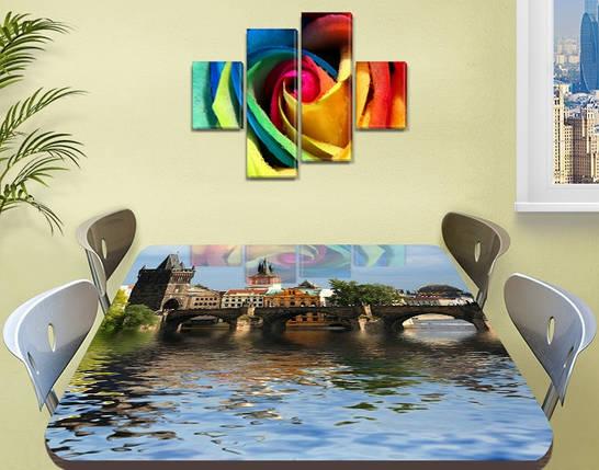 Виниловая наклейка на стол Дворец над водой Архитектура декоративная пленка самоклеющаяся, голубой 60 х 100 см, фото 2