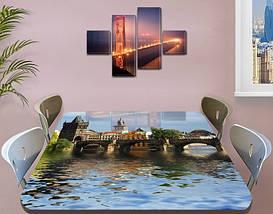 Виниловая наклейка на стол Дворец над водой Архитектура декоративная пленка самоклеющаяся, голубой 60 х 100 см, фото 3