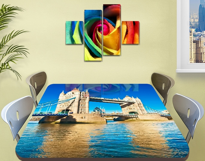 Виниловая наклейка на стол Тауэрский мост Темза декоративная пленка самоклеющаяся, голубой 60 х 100 см