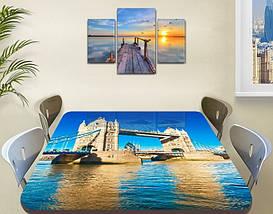 Виниловая наклейка на стол Тауэрский мост Темза декоративная пленка самоклеющаяся, голубой 60 х 100 см, фото 2