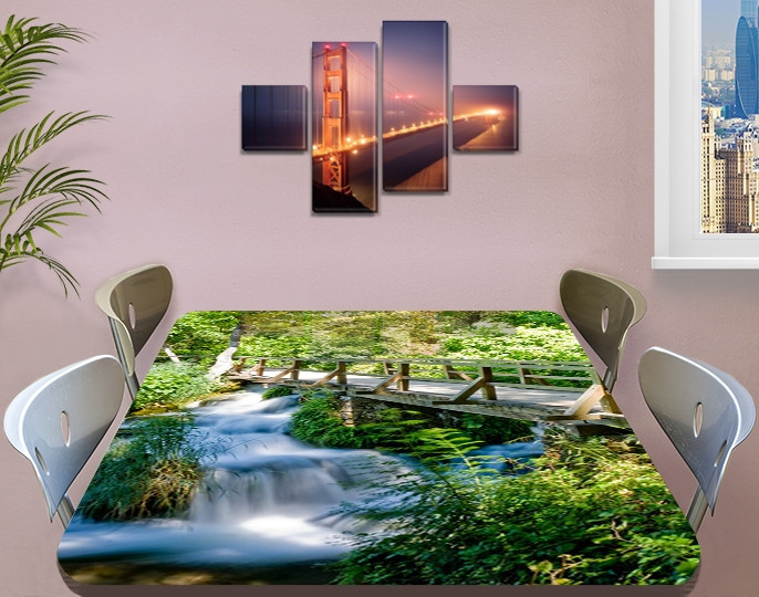 Виниловая наклейка на стол Деревянный мост через реку декоративная пленка самоклеющаяся, зеленый 60 х 100 см
