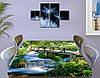 Виниловая наклейка на стол Деревянный мост через реку декоративная пленка самоклеющаяся, зеленый 60 х 100 см, фото 3
