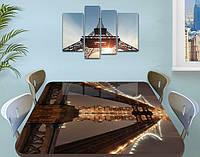 Виниловая наклейка на стол Огни в сумерках Мост самоклеющаяся пленка с ламинацией, коричневый 60 х 100 см