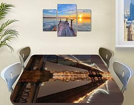Виниловая наклейка на стол Огни в сумерках Мост самоклеющаяся пленка с ламинацией, коричневый 60 х 100 см, фото 3
