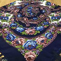 Нежный павлопосадский платок для девушки (120х120 см,  фиолетовый, 80%-шерсть), фото 1