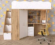 Дитяче ліжко-горище Art-In-Head ОКСФОРД ДМ37А МДФ білий+дуб сонома