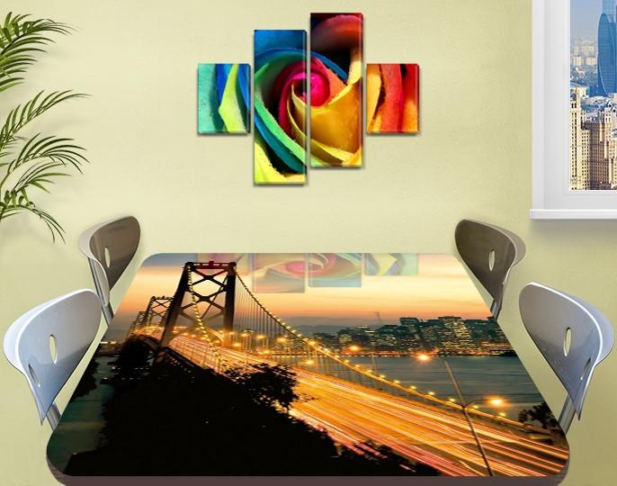 Виниловая наклейка на стол Раннее Утро над мостом самоклеющаяся пленка с ламинацией, бежевый 60 х 100 см
