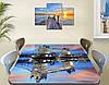 Виниловая наклейка на столешницу Тауэрский мост вечер самоклеющаяся пленка с ламинацией, голубой 60 х 100 см, фото 3