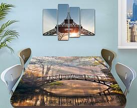 Виниловая наклейка на стол Мост-Арка над лесной рекой самоклеющаяся пленка с ламинацией, серый 60 х 100 см, фото 3