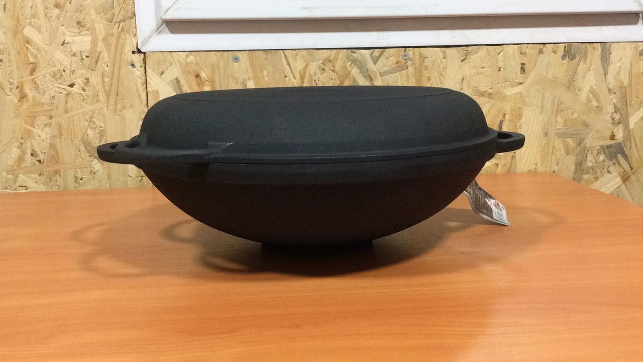 Сковорода вок чавунна з кришкою сковорідкою 300х90мм «Сітон»