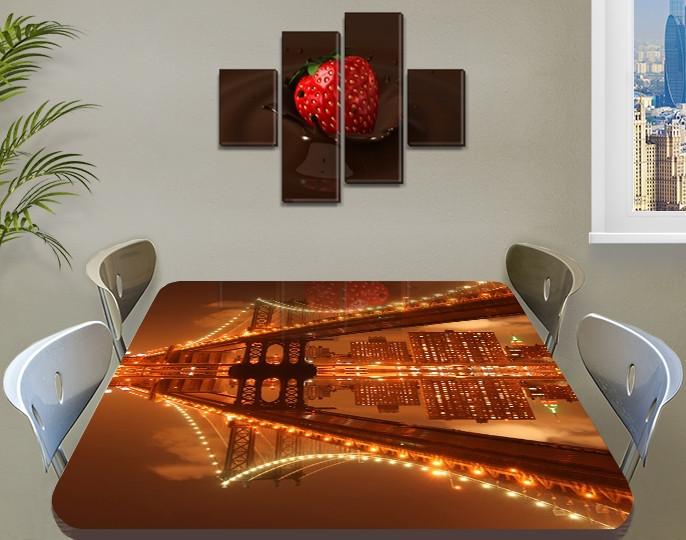 Виниловая наклейка на стол Отражение моста в реке самоклеющаяся пленка с ламинацией, коричневый 60 х 100 см