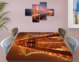Виниловая наклейка на стол Отражение моста в реке самоклеющаяся пленка с ламинацией, коричневый 60 х 100 см, фото 3