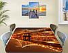 Виниловая наклейка на стол Отражение моста в реке самоклеющаяся пленка с ламинацией, коричневый 60 х 100 см, фото 2