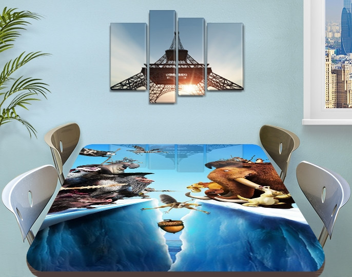 Детская наклейка на стол Ледниковый период виниловая самоклеющаяся пленка для мебели, голубой 60 х 100 см