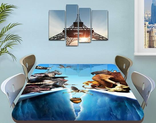 Детская наклейка на стол Ледниковый период виниловая самоклеющаяся пленка для мебели, голубой 60 х 100 см, фото 2