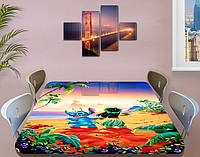 Детская наклейка на стол Лило и Стич виниловая самоклеющаяся интерьерная пленка для декора бежевый 60 х 100 см