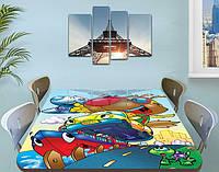 Детская наклейка на стол Тачки 03 виниловая самоклеющаяся интерьерная пленка для мебели, голубой 60 х 100 см