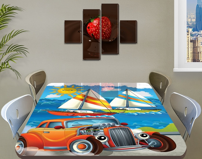 Детская наклейка на стол Тачки парусники самоклеющаяся интерьерная пленка декор мебели, голубой 60 х 100 см