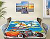 Детская наклейка на стол Тачки парусники самоклеющаяся интерьерная пленка декор мебели, голубой 60 х 100 см, фото 2