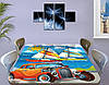 Детская наклейка на стол Тачки парусники самоклеющаяся интерьерная пленка декор мебели, голубой 60 х 100 см, фото 3