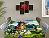 Детская наклейка на стол Замок Рапунцель виниловая самоклеющаяся пленка для декора мебели, зеленый 60 х 100 см, фото 2