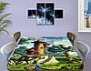 Детская наклейка на стол Замок Рапунцель виниловая самоклеющаяся пленка для декора мебели, зеленый 60 х 100 см, фото 3